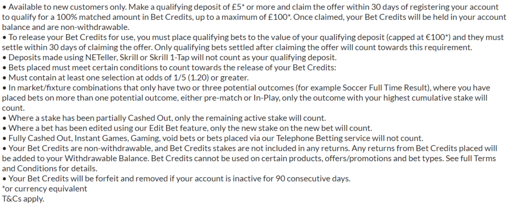 BET365 bonus codes
