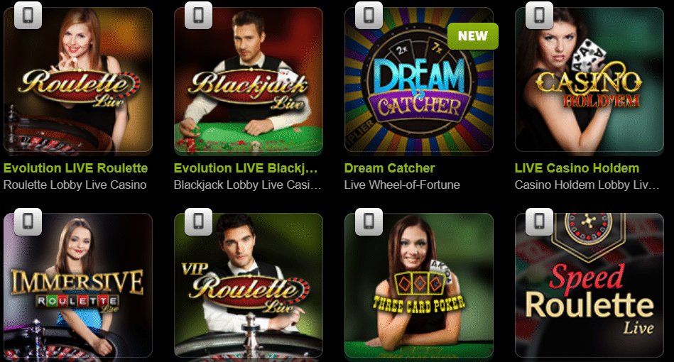 come on live casino tables
