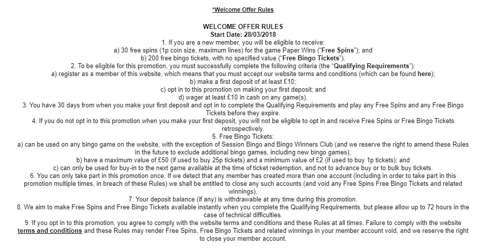 heart bingo bonus terms